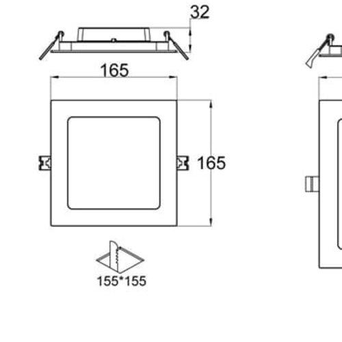 Tronix Vierkant LED Downlight ECO | Witte kleur | 12 Watt | 3000K | Niet dimbaar | 2 Jaar Garantie