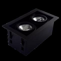 Dubbel Trimless Inbouwarmatuur | 2 x AR70 | Zwart | GU10 Fitting Inclusief