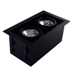 Dubbele Trimless Inbouwspot | 2 x AR70 | Zwart | GU10 Fitting Inclusief