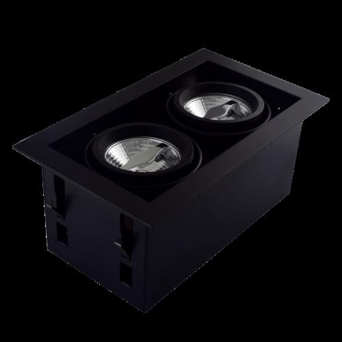 Tronix Dubbele Trimless Inbouwspot   2 x AR70   Zwart   GU10 Fitting Inclusief