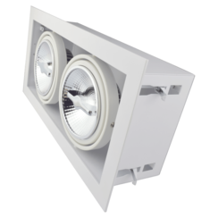 Dubbele Trimless Inbouwspot | 2 x AR111 | Wit | 2 Jaar Garantie