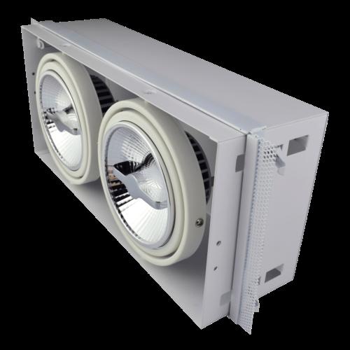 Tronix Dubbele Trimless Inbouwspot | 2 x AR111 | Wit | 2 Jaar Garantie