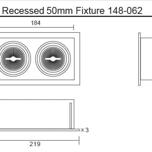 Tronix Dubbel Trimless Inbouwarmatuur | 2 x 50mm | Zwart | GU10/MR16 Fitting Inclusief