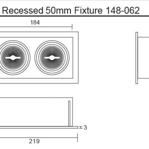 Tronix Dubbele Trimless Inbouwspot | 2 x 50mm | Zwart | GU10/MR16 Fitting Inclusief