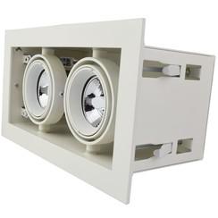 Dubbele Trimless Inbouwspot | 2 x 50mm | Wit | GU10 & MR16 Fitting Inclusief