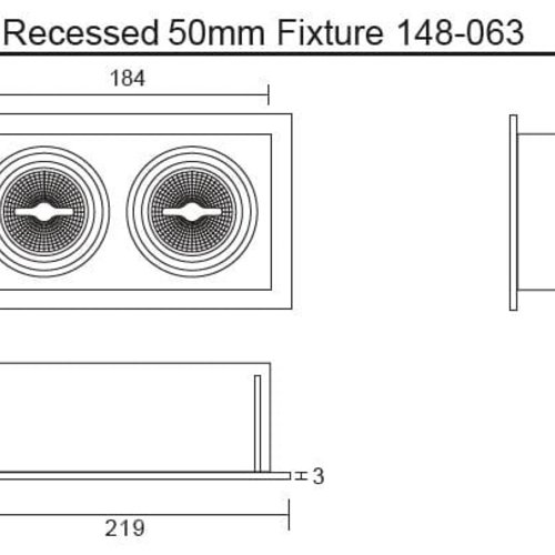 Tronix Dubbel Trimless Inbouwarmatuur | 2 x 50mm | Wit | GU10 & MR16 Fitting Inclusief
