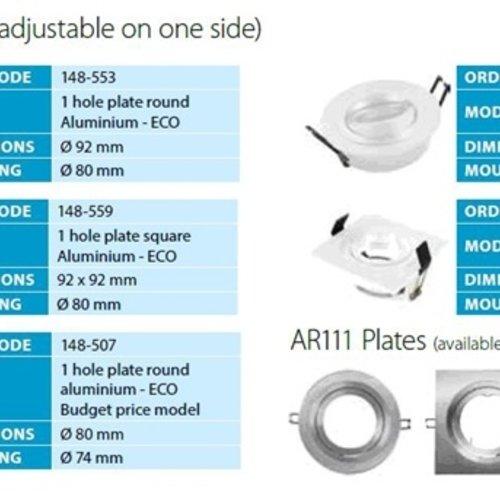 Tronix Armatuur vierkant wit kantelbaar IP20
