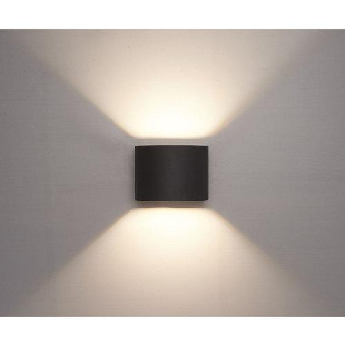 LVS led lighting WANDLAMP THEBE ROND ZWART 6W DIMBAAR