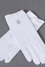 Craft White Cotton Gloves Blue embroidered Square & Compass
