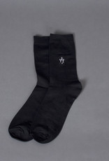 Black Cotton Short Sock Embroidered Square & Compass