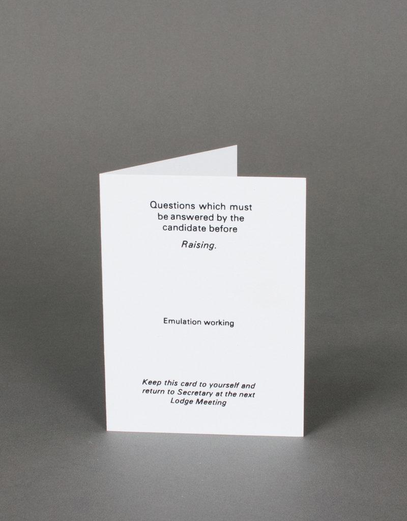 Masonic Emulation Raising Question Card