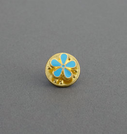 Masonic Forget Me Not Flower Lapel Pin Badge   Gold