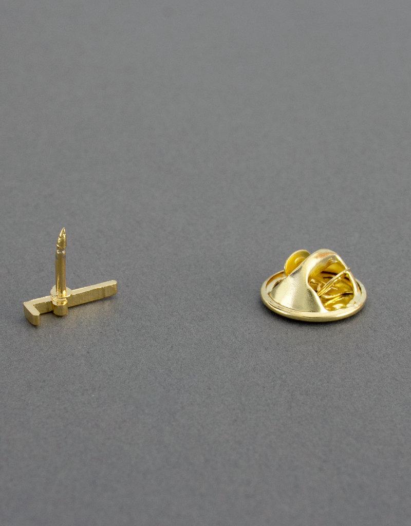 Craft Two Balls & Cane Masonic Lapel Pin Badge | Gold