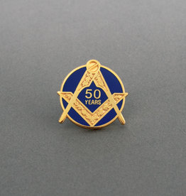 Craft Fifty Years Service Lapel Pin | Gold & Hand Enameled
