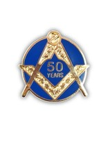 Craft Fifty Years Service Lapel Pin   Gold & Hand Enameled