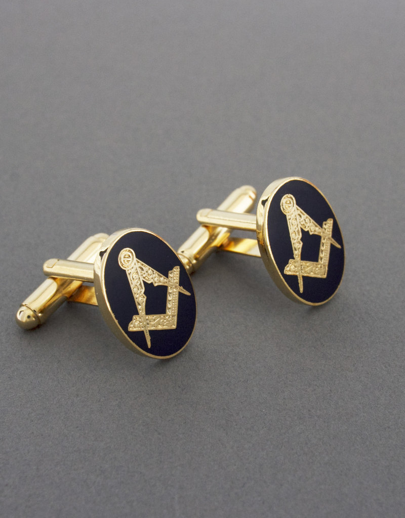 Square & Compass Royal Oval Cufflinks