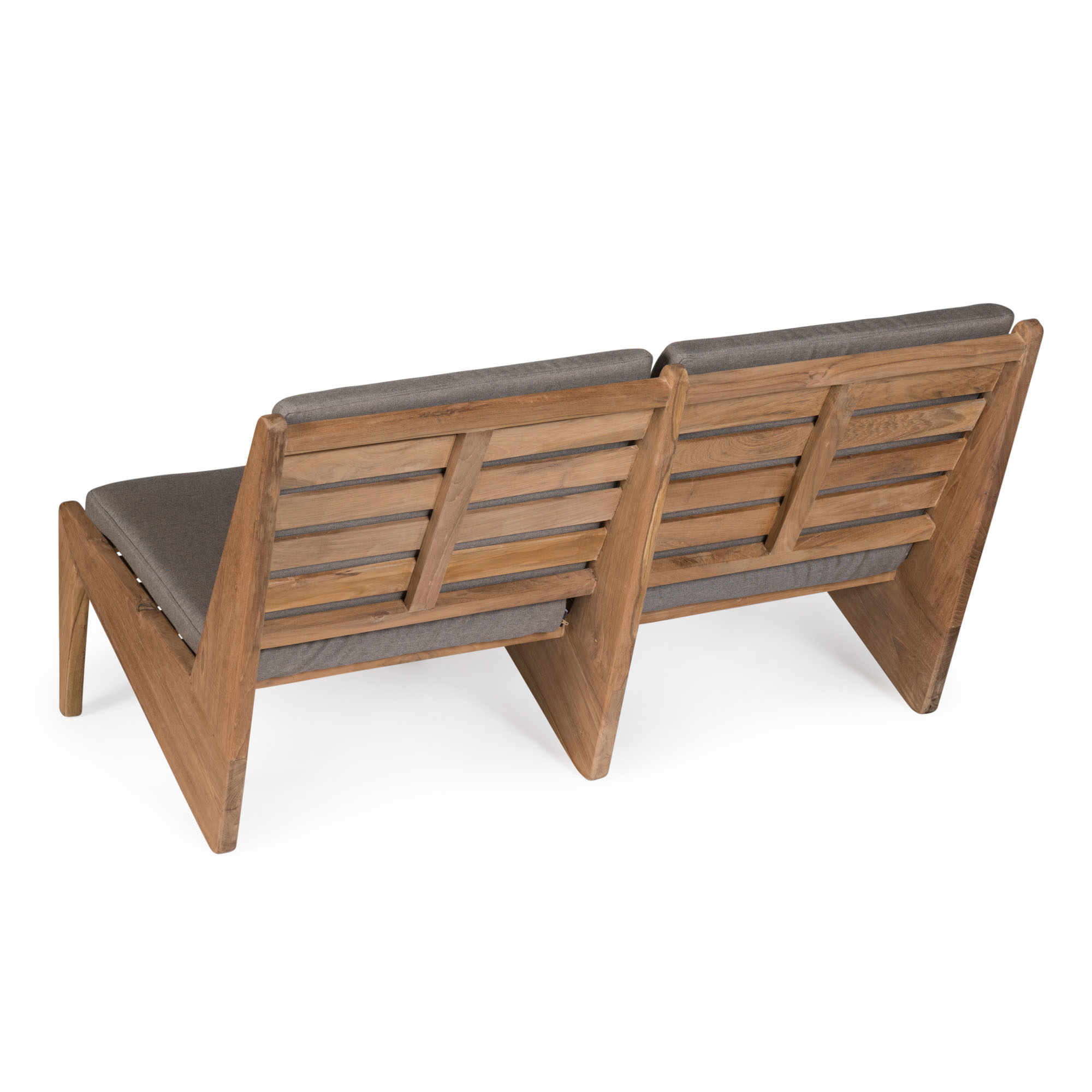 Kangaroo Chair  Bench 2 - Teak Outdoor with Cushion-4