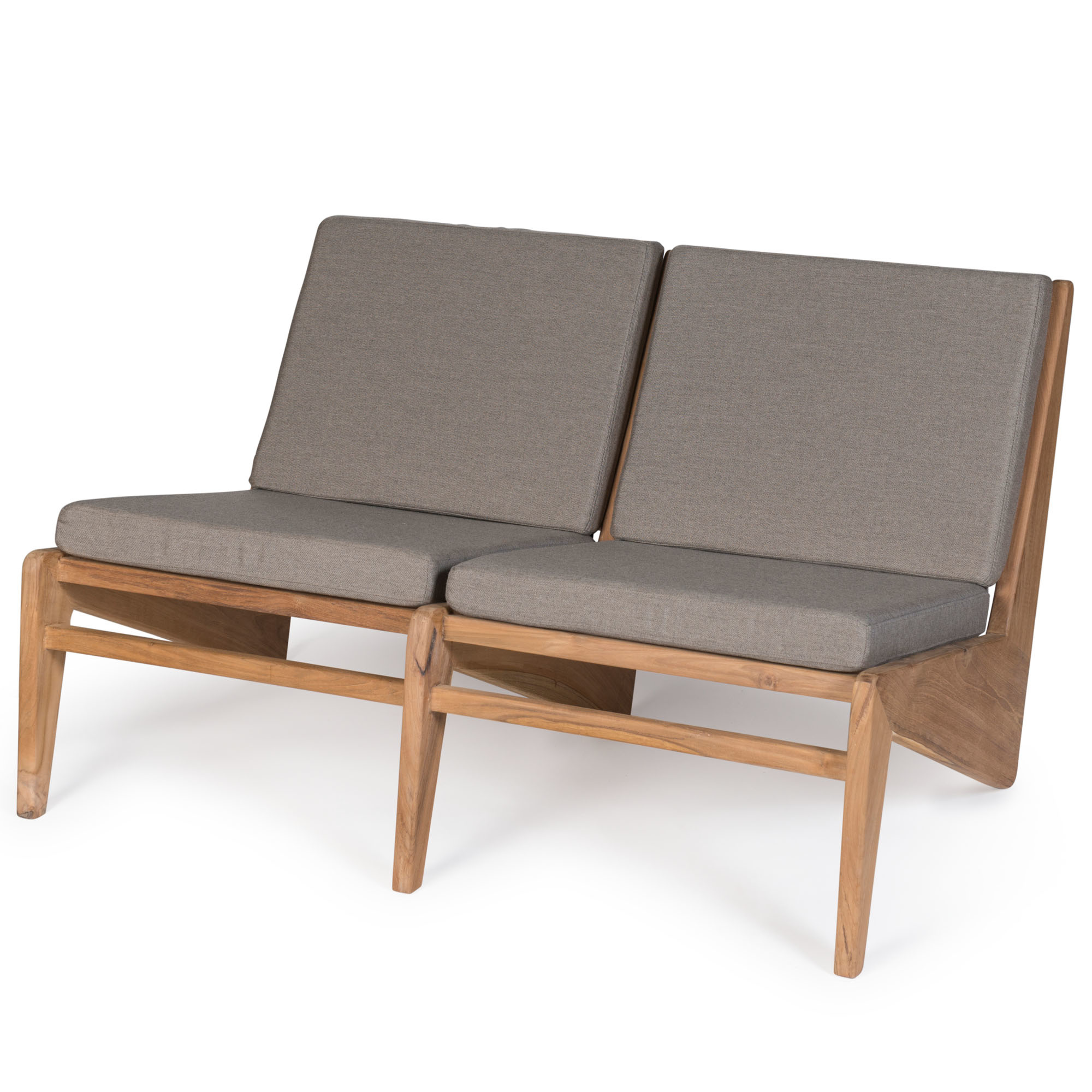 Kangaroo Chair  Bench 2 - Teak Outdoor with Cushion-1