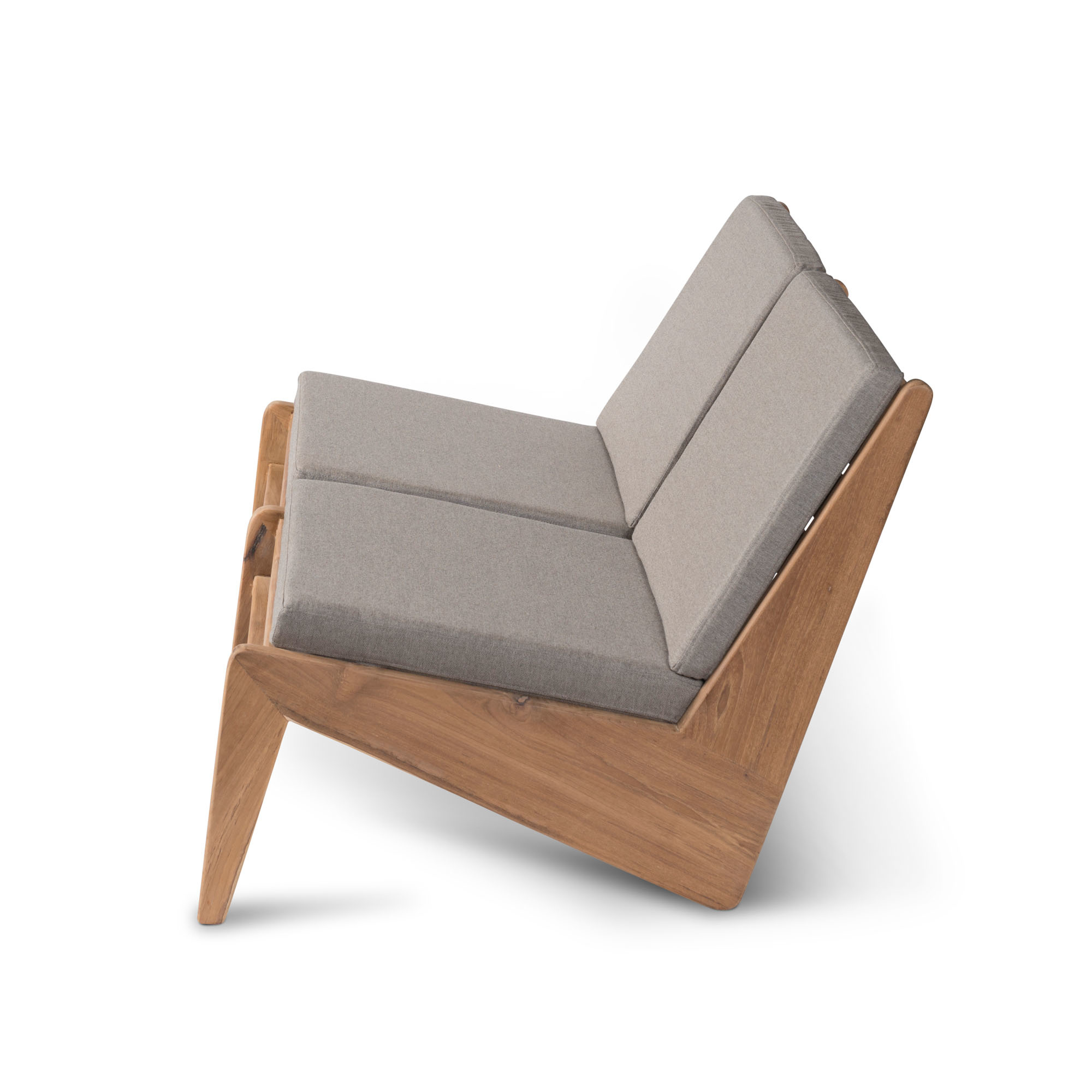 Kangaroo Chair  Bench 2 - Teak Outdoor with Cushion-2