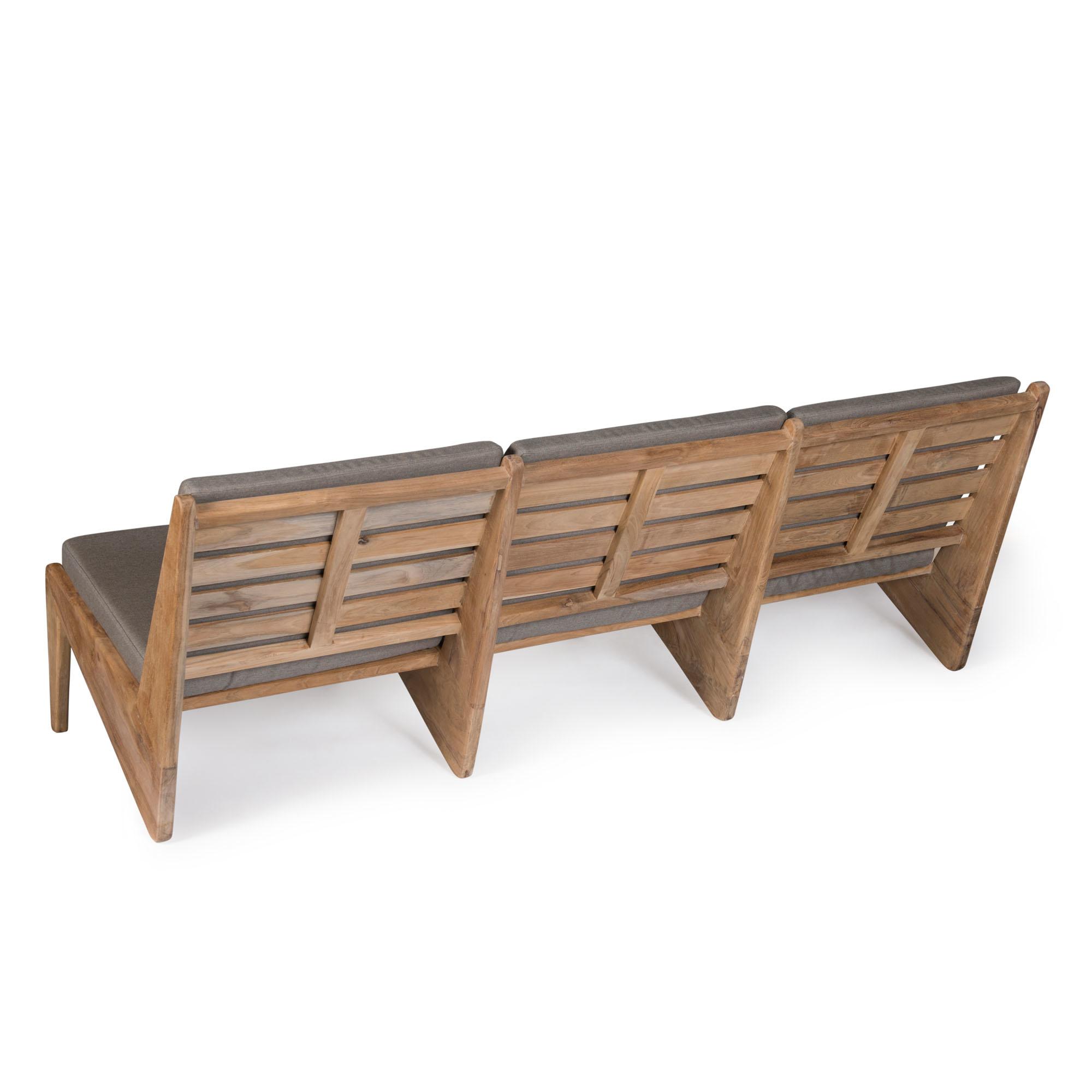 Kangaroo Chair  Bench 3 - Teak Outdoor with Cushion-4