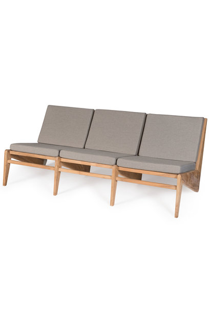 Kangaroo Chair Bench 3 - Teak Outdoor with Cushion