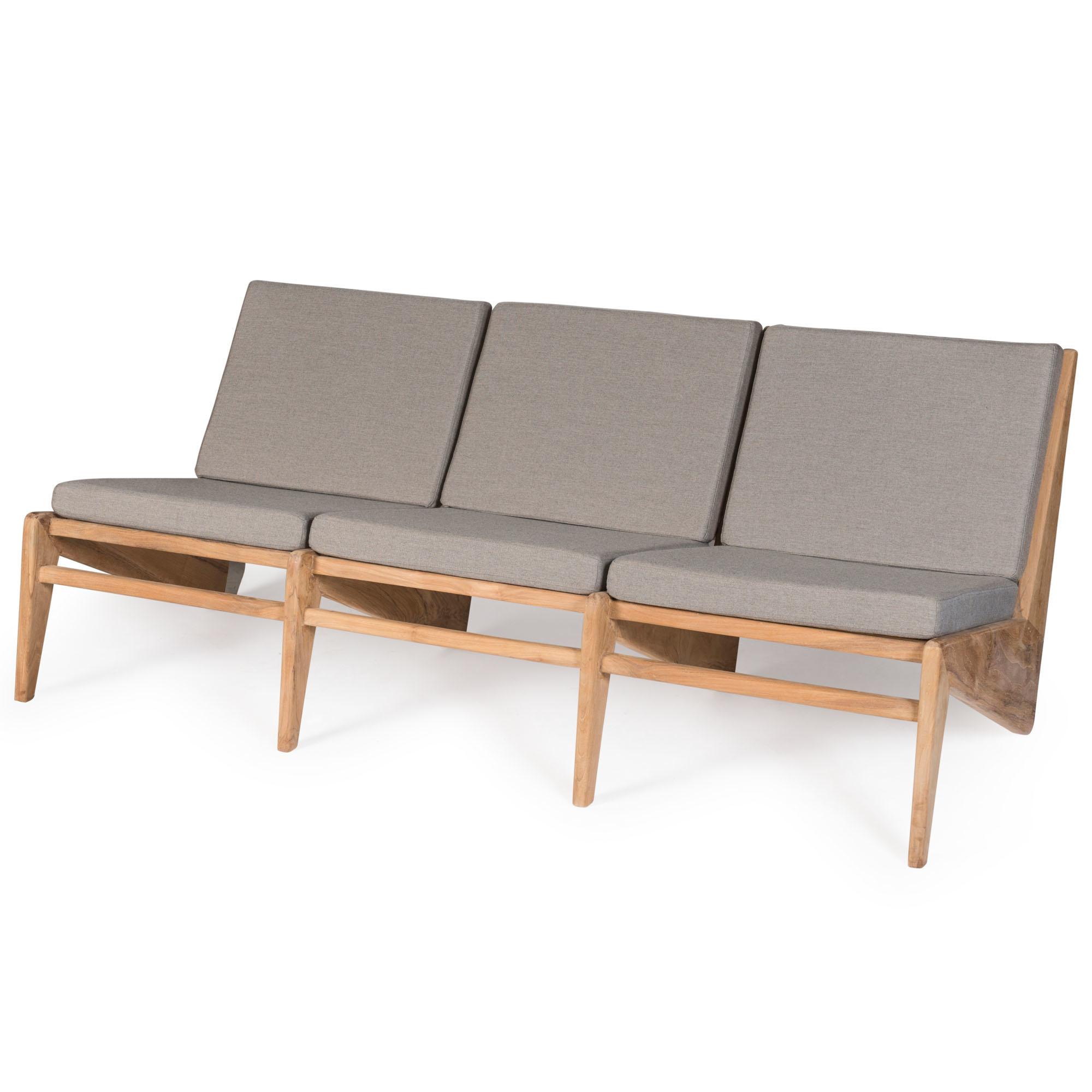 Kangaroo Chair  Bench 3 - Teak Outdoor with Cushion-1