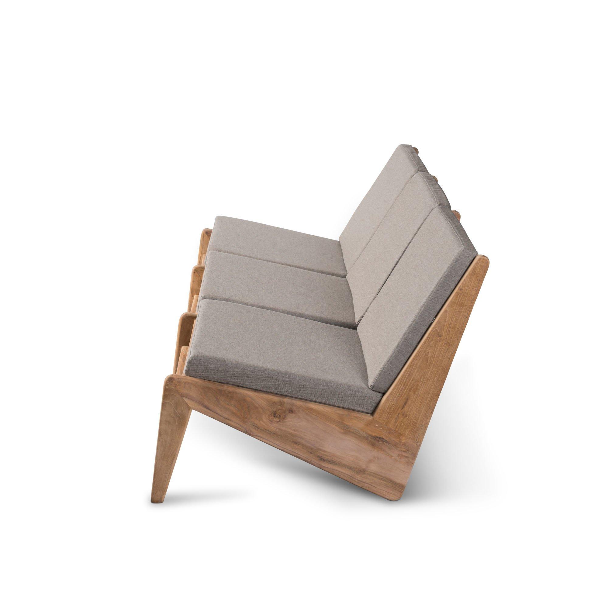 Kangaroo Chair  Bench 3 - Teak Outdoor with Cushion-2
