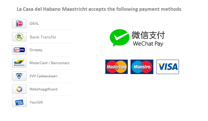La Casa del Habano Maastricht accepts the following payment methods