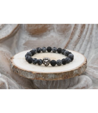 Bracelet protection OBSIDIENNE flocon de neige matte 8mm