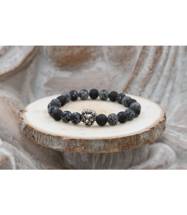 Luma Creation Bracelet protection OBSIDIENNE flocon de neige matte 8mm