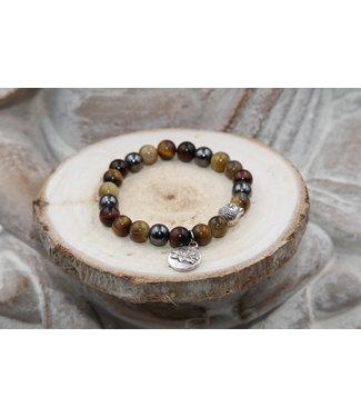 Luma Creation Bracelet OEIL de TIGRE, Oeil de TAUREAU et HEMATITE 8mm
