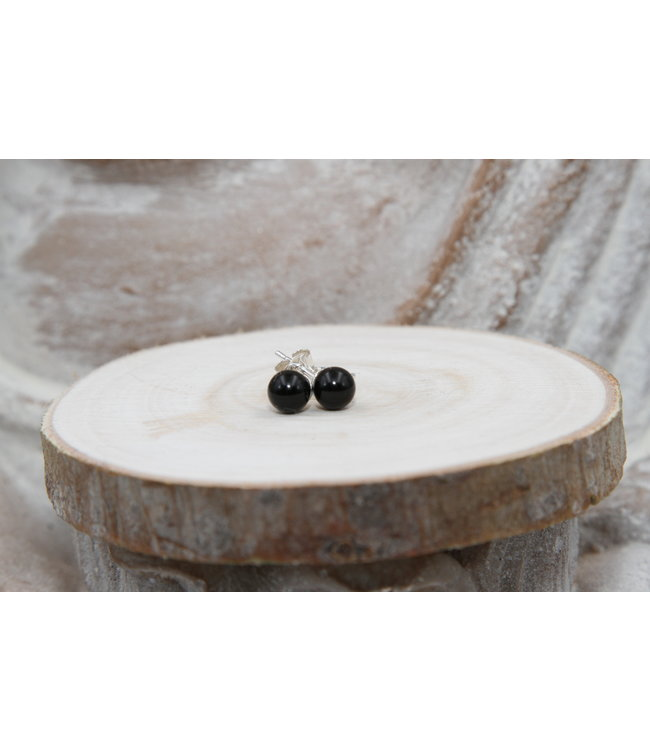 Boucles d'oreilles boules Onyx Noir 8 mm
