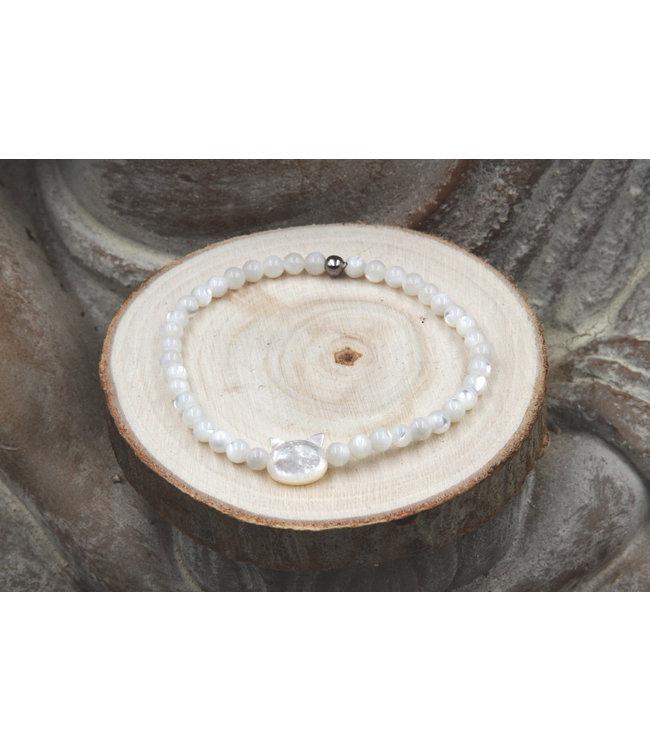 Luma Creation Bracelet Chat Nacre Blanc
