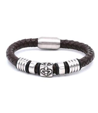 Bracelet homme Cuir Symbole Fleur de Lys