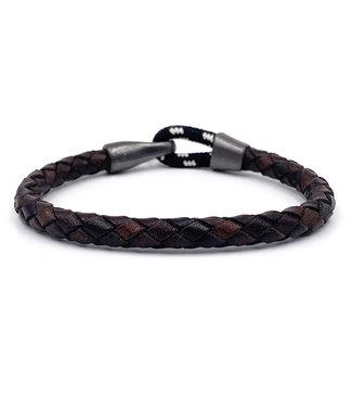 Bracelet Cuir Brun Crochet