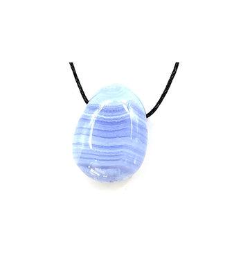 Pendentif Calcédoine Bleue Pierre Roulée