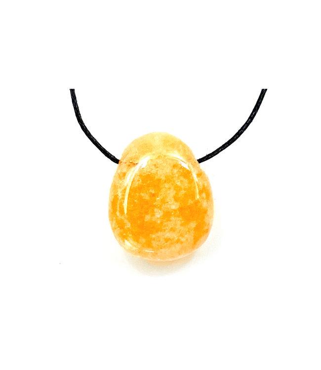 Pendentif Calcite jaune-Orange Pierre Roulée