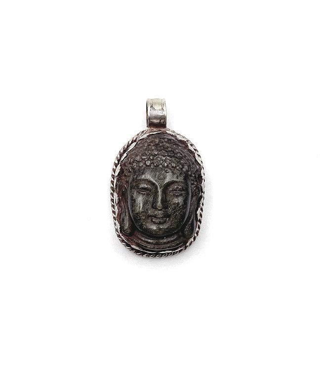 Pendentif Sculpté Bouddha Obsidienne dorée