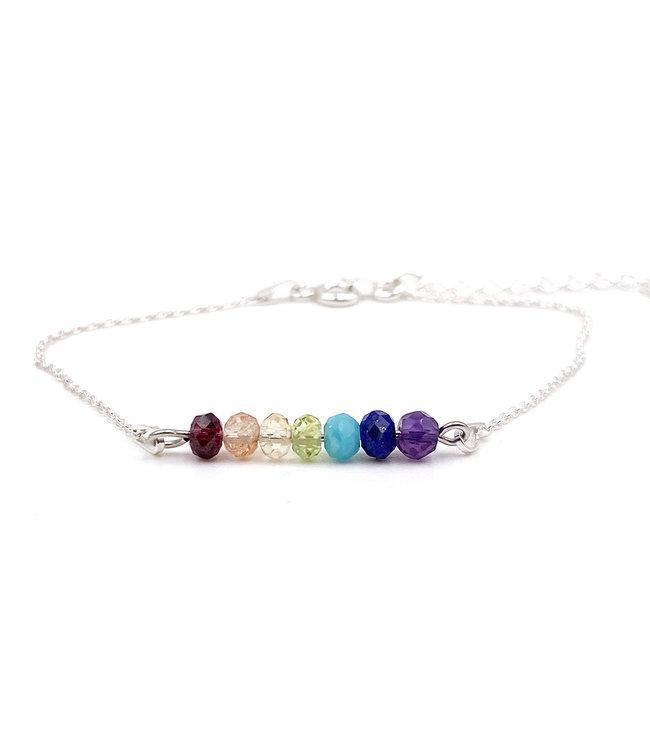 Bracelet 7 Chakras sur chaîne argent 925