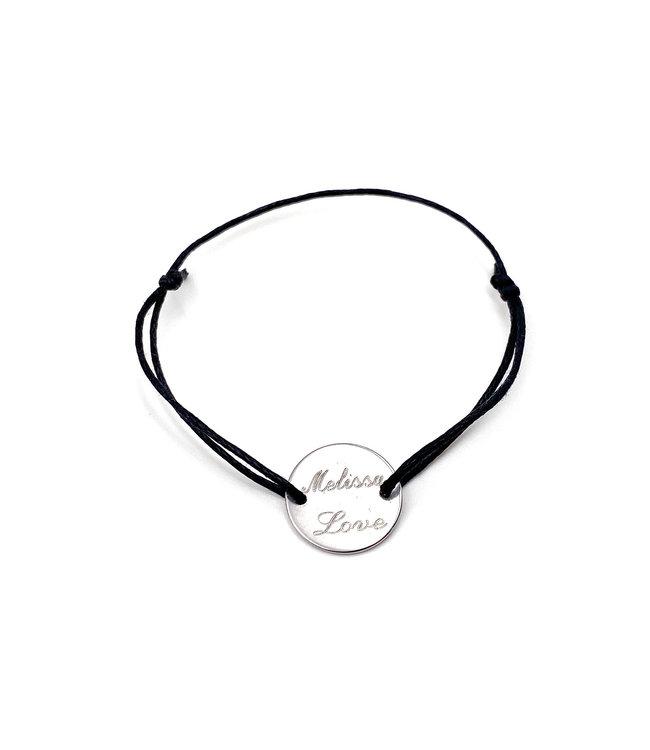 Bracelet cordon médaille à gravé