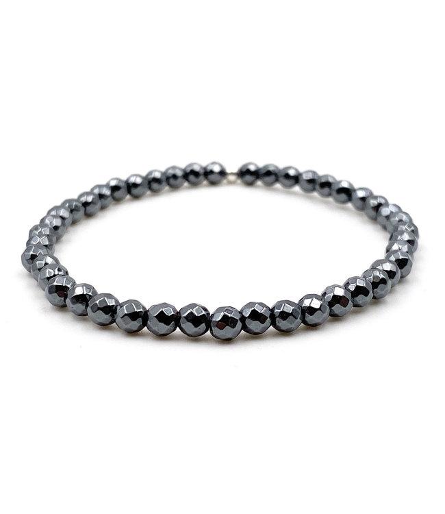 Bracelet Hématite 4mm facetté