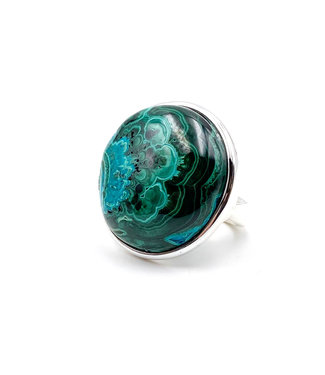 Bague Chrysocolle - Malachite Ronde