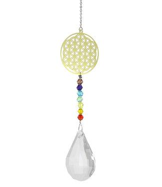 Goutte de cristal avec chaîne 7 chakras fleur de vie