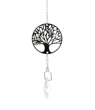 Goutte de cristal avec chaîne et arbre de vie
