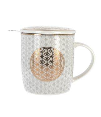 Mug/tasse à thé avec infuseur - fleur de vie