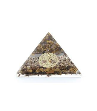 Pyramide d'Orgonite en oeil de tigre et arbre de vie