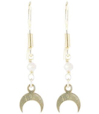 Boucles d'oreilles pierre de lune doré