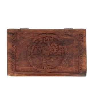 Boîte à Bijoux rectangulaire en bois et arbre de vie
