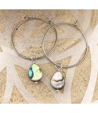 Boucles d'oreilles créoles abalone acier ou or