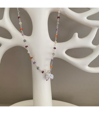 Collier Multi-pierres avec ailes d'ange argent 925